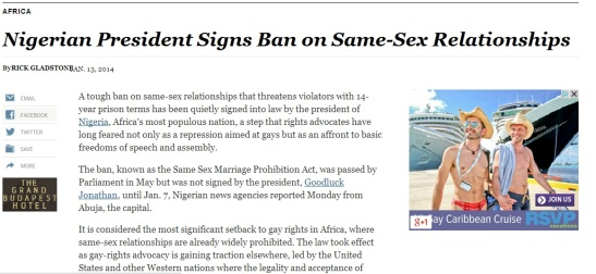 Nigeria Bans Same-Sex Marriage